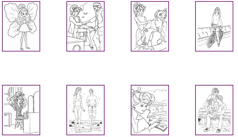 Распечатать 10 раскрасок с Барби и Кеном