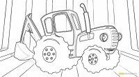 Распечатать раскраски синий трактор из мультфильма